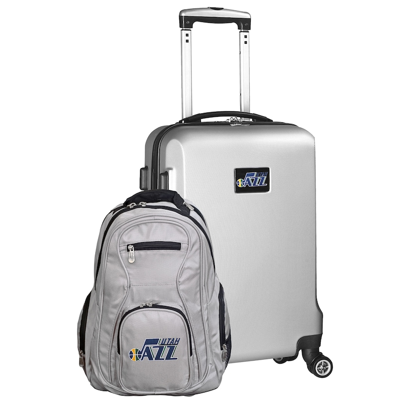 Utah Jazz Deluxe 2-Piece Backpack and Carry-On Set - Silver