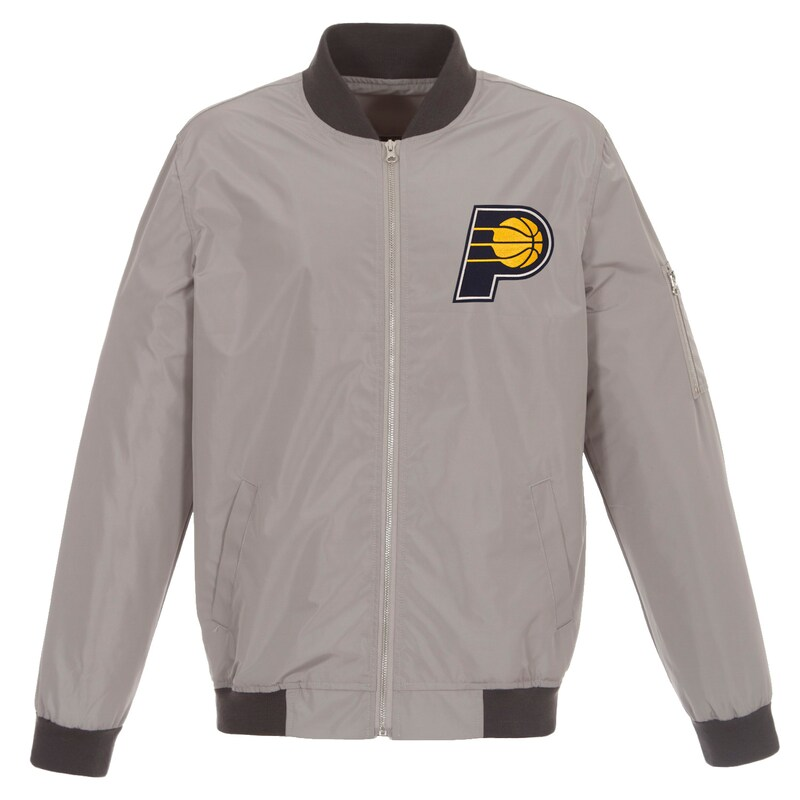Indiana Pacers JH Design Lightweight Nylon Full-Zip Bomber Jacket - Gray/Charcoal