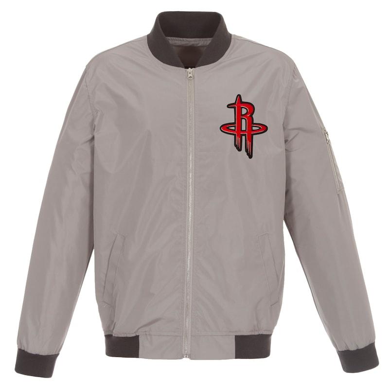 Houston Rockets JH Design Lightweight Nylon Full-Zip Bomber Jacket - Gray/Charcoal