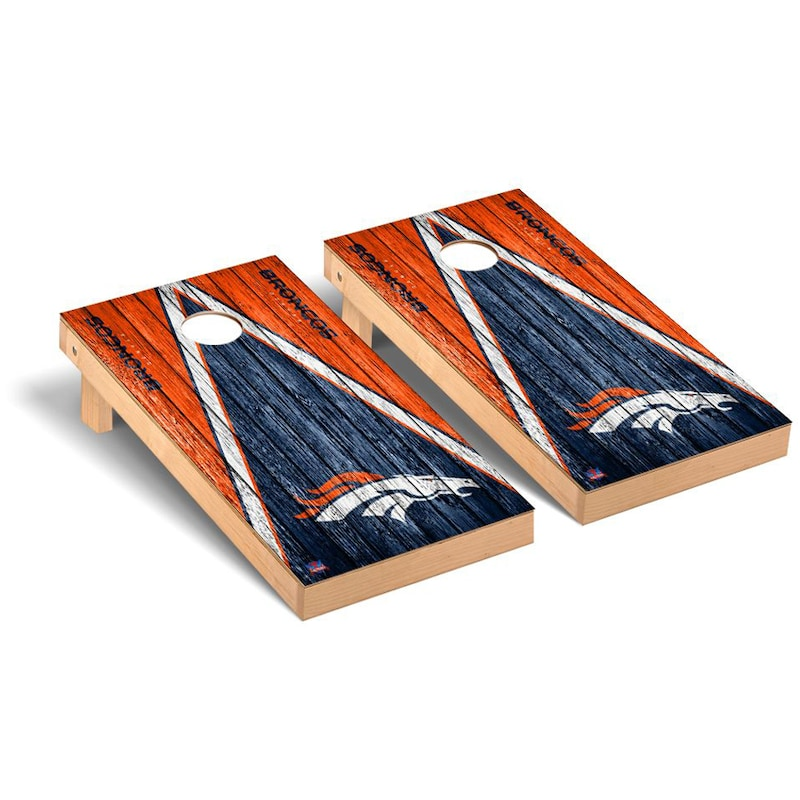 Denver Broncos 2' x 4' Triangle Weathered Regulation Cornhole Board Tailgate Toss Set