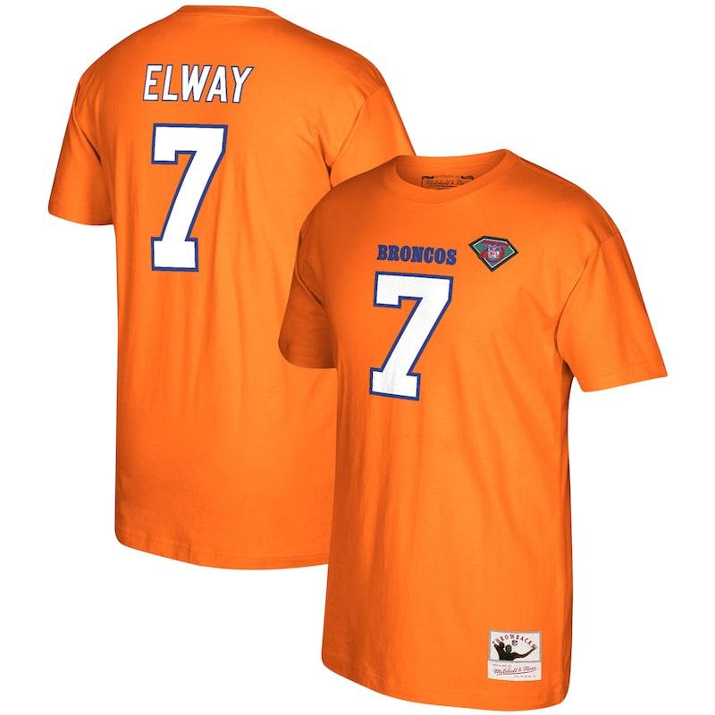 John Elway Denver Broncos Mitchell & Ness 1994 Retired Player Name & Number T-Shirt - Orange
