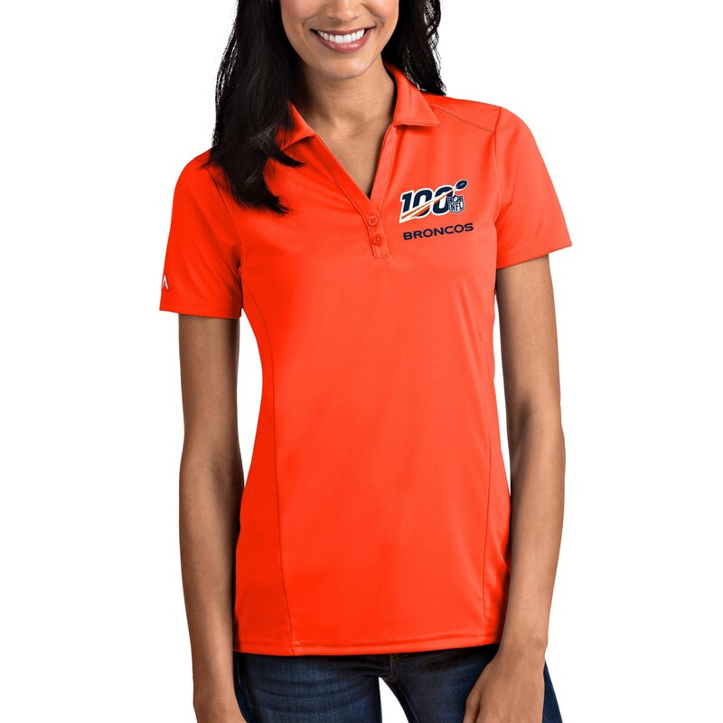 Denver Broncos Antigua Women's NFL 100 Tribute Polo - Orange