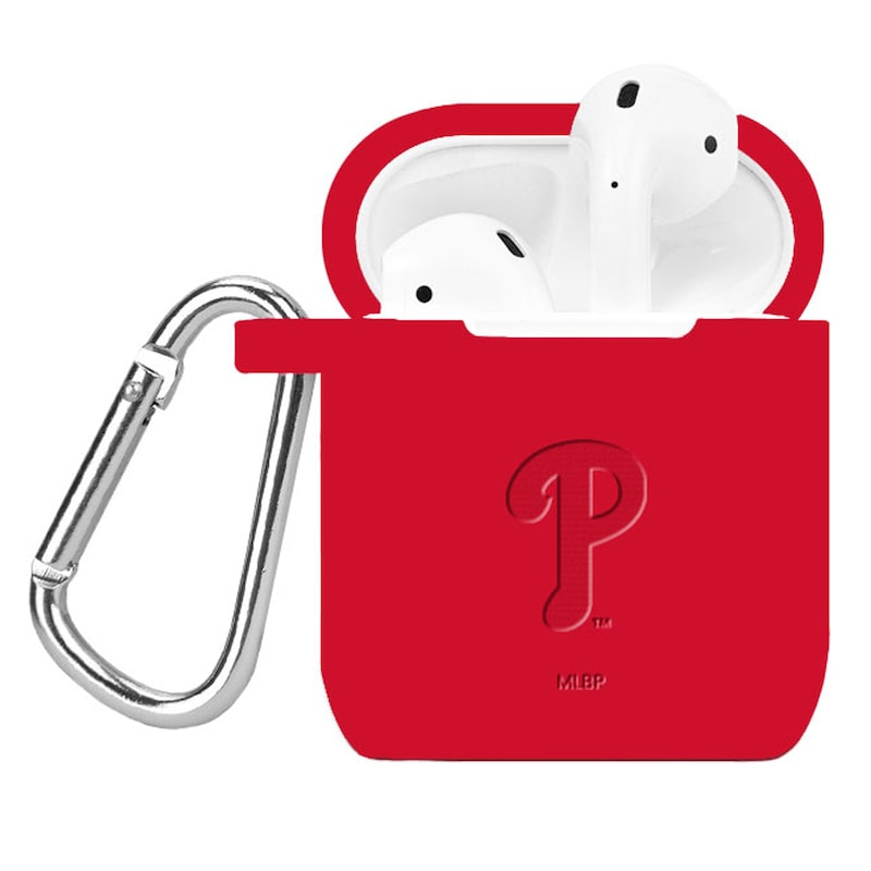 Philadelphia Phillies Affinity Bands Debossed Silicone Air Pods Case Cover - Red