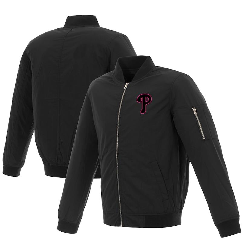 Philadelphia Phillies JH Design Women's Nylon Bomber Jacket - Black/Pink
