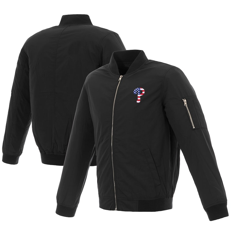 Philadelphia Phillies JH Design 2019 Stars and Stripes Bomber Jacket with Embroidered Logo - Black