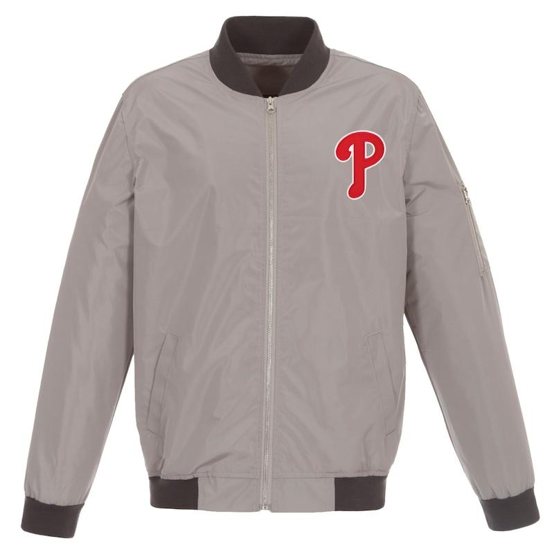 Philadelphia Phillies JH Design Lightweight Nylon Bomber Jacket - Gray