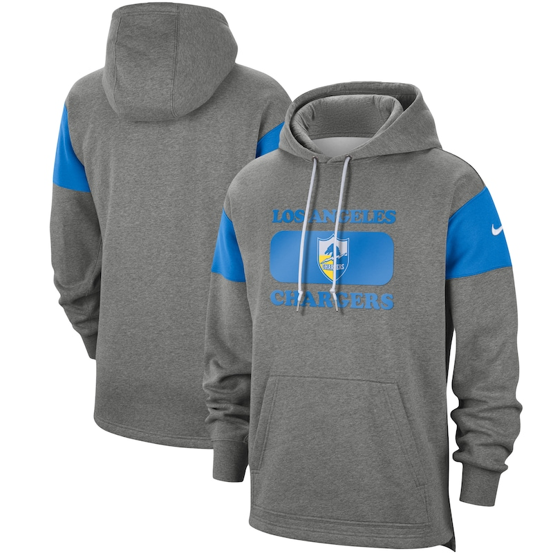 Los Angeles Chargers Nike Fan Gear Historic Pullover Hoodie - Heathered Gray