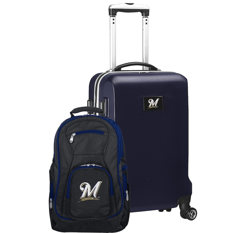 Milwaukee Brewers Deluxe 2-Piece Backpack and Carry-On Set - Navy