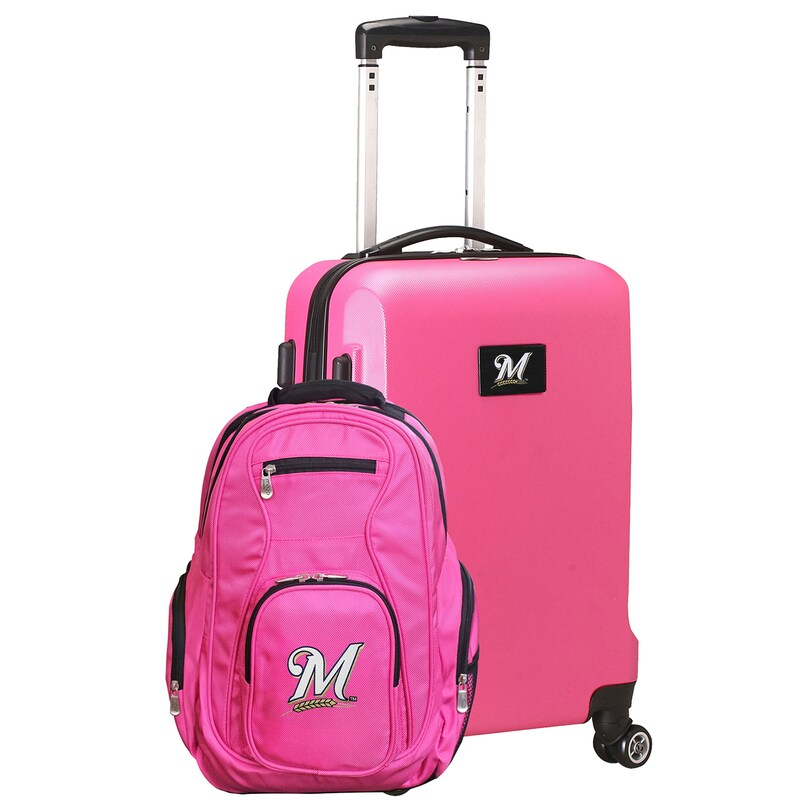 Milwaukee Brewers Deluxe 2-Piece Backpack and Carry-On Set - Pink