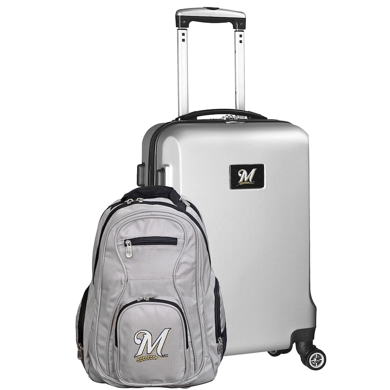 Milwaukee Brewers Deluxe 2-Piece Backpack and Carry-On Set - Silver