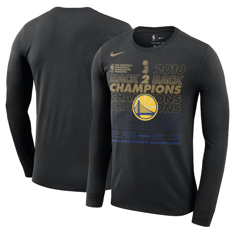 Golden State Warriors Nike 2018 NBA Finals Champions Locker Room Long Sleeve T-Shirt - Black