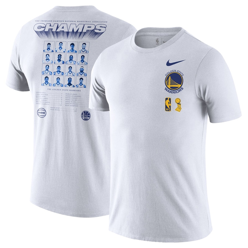 Golden State Warriors Nike 2018 NBA Finals Champions Team Roster Dri-FIT Cotton T-Shirt - White