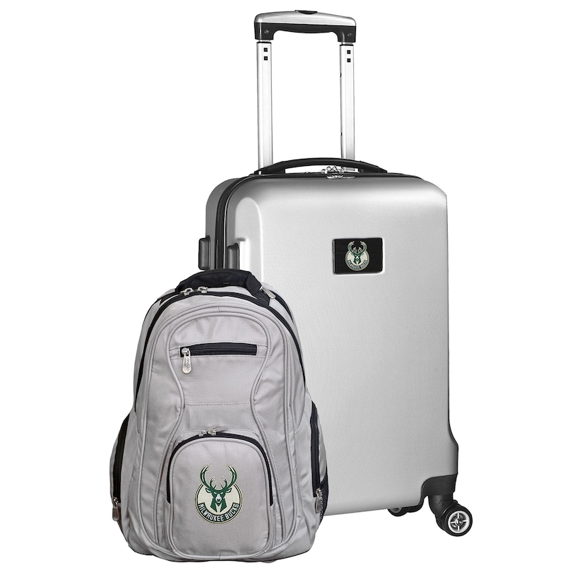 Milwaukee Bucks Deluxe 2-Piece Backpack and Carry-On Set - Silver