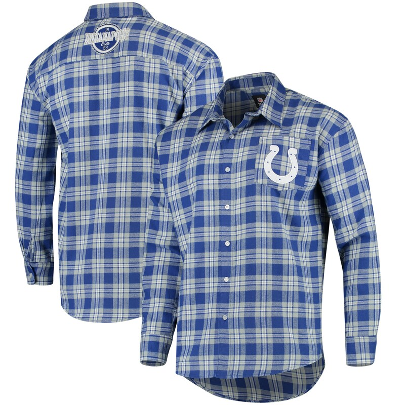Indianapolis Colts Wordmark Flannel Long Sleeve Button-Up - Royal/White