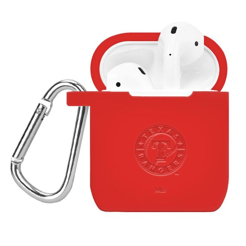 Texas Rangers Debossed Silicone Air Pods Case Cover - Red