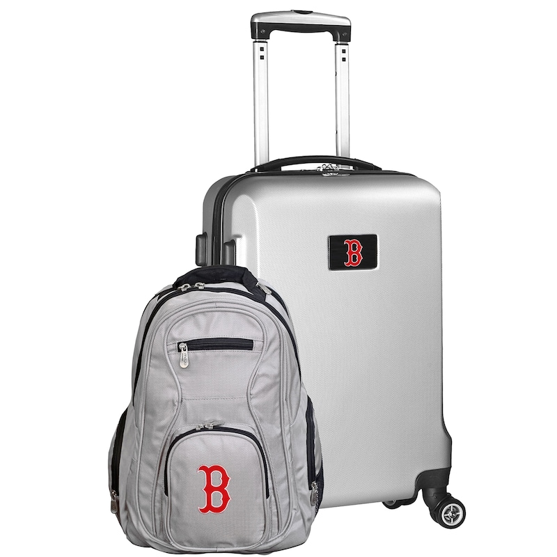 Boston Red Sox Deluxe 2-Piece Backpack and Carry-On Set - Silver