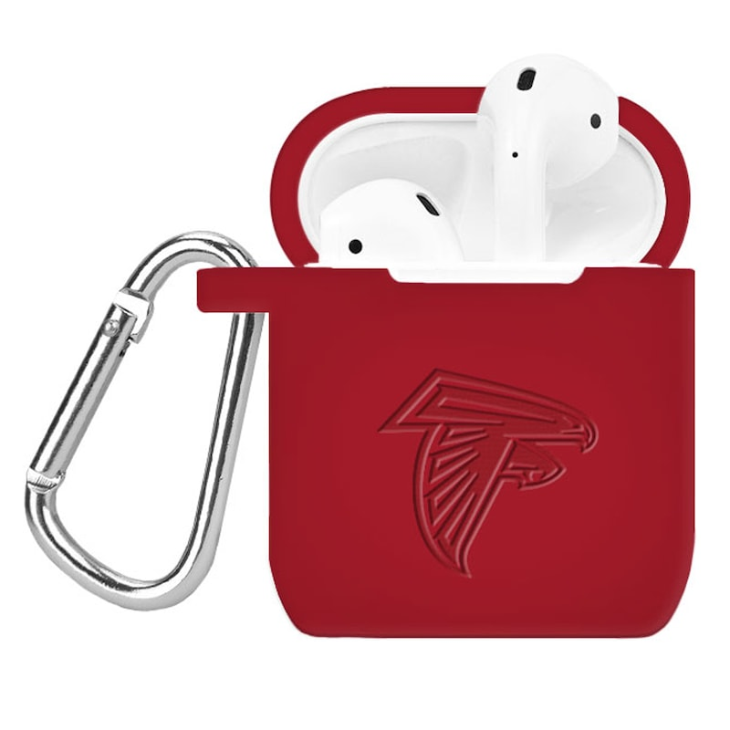 Atlanta Falcons Debossed Silicone Air Pods Case Cover - Red