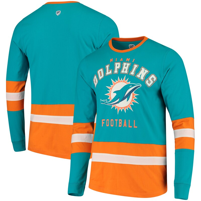 Miami Dolphins G-III Sports by Carl Banks Even Strength Long Sleeve T-Shirt - Aqua/Orange