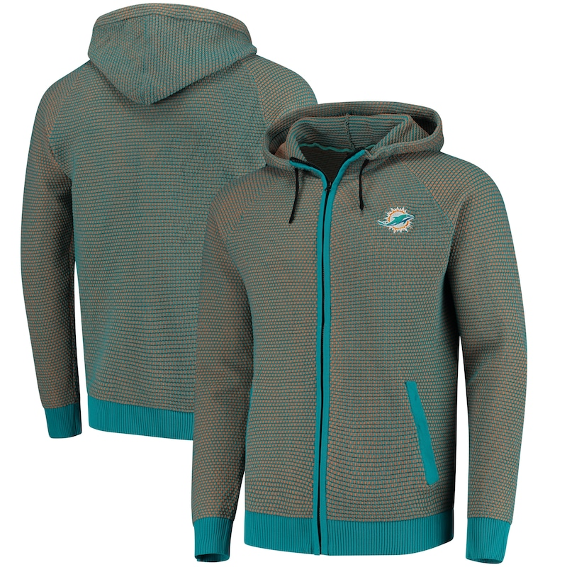 Miami Dolphins Poly-Knit Full-Zip Hoodie - Aqua