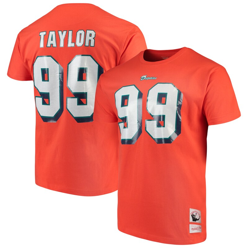 Jason Taylor Miami Dolphins Mitchell & Ness Retired Player Name and Number T-Shirt - Orange