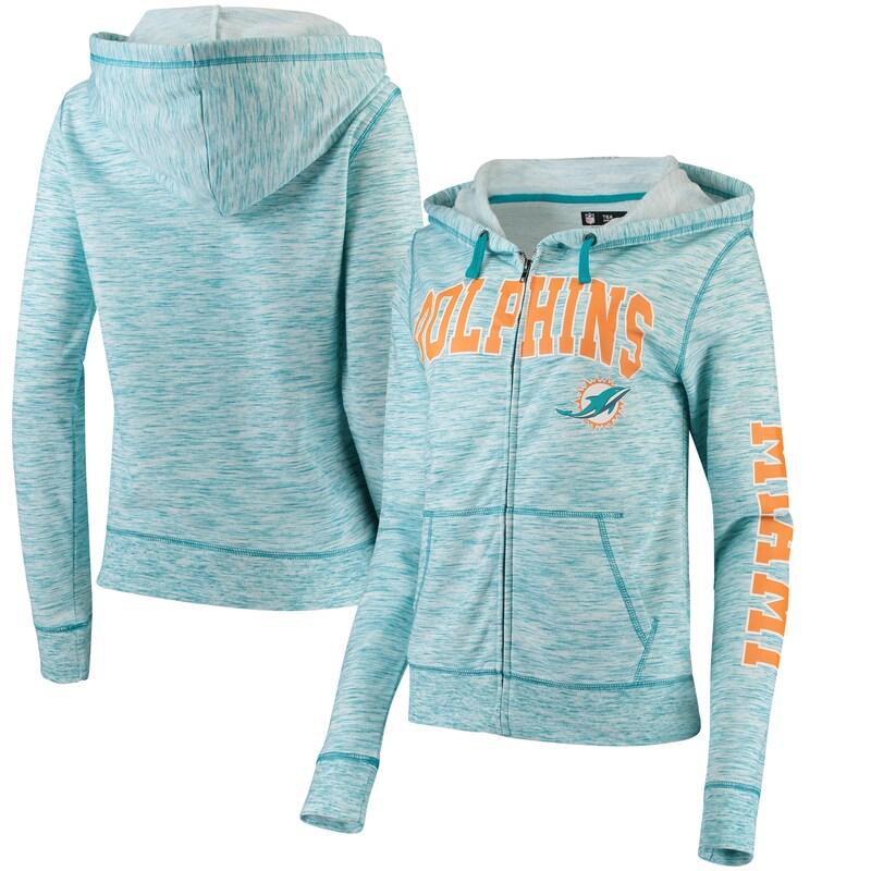 Miami Dolphins 5th & Ocean by New Era Women's Athletic Space Dye Full-Zip Hoodie - Aqua