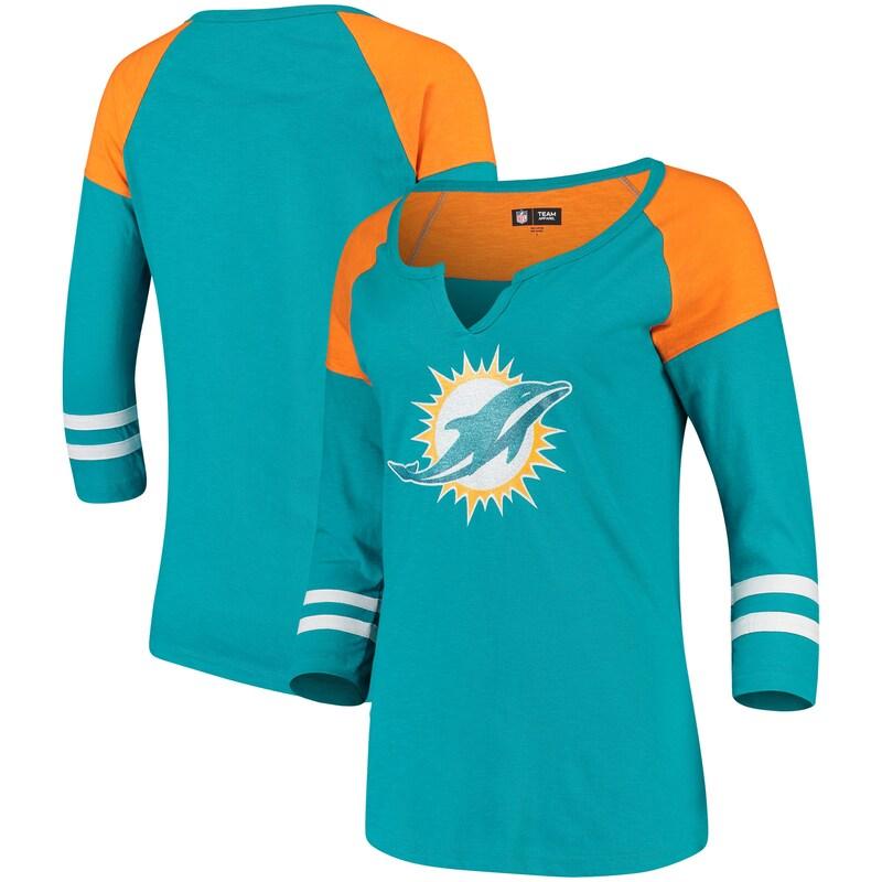 Miami Dolphins 5th & Ocean by New Era Women's Split Slub Scoop Neck 3/4-Sleeve T-Shirt - Aqua