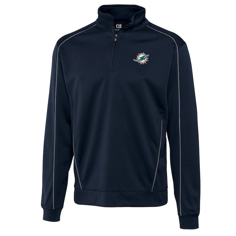Miami Dolphins Cutter & Buck Big & Tall DryTec Edge 1/2-Zip Pullover Jacket - Navy