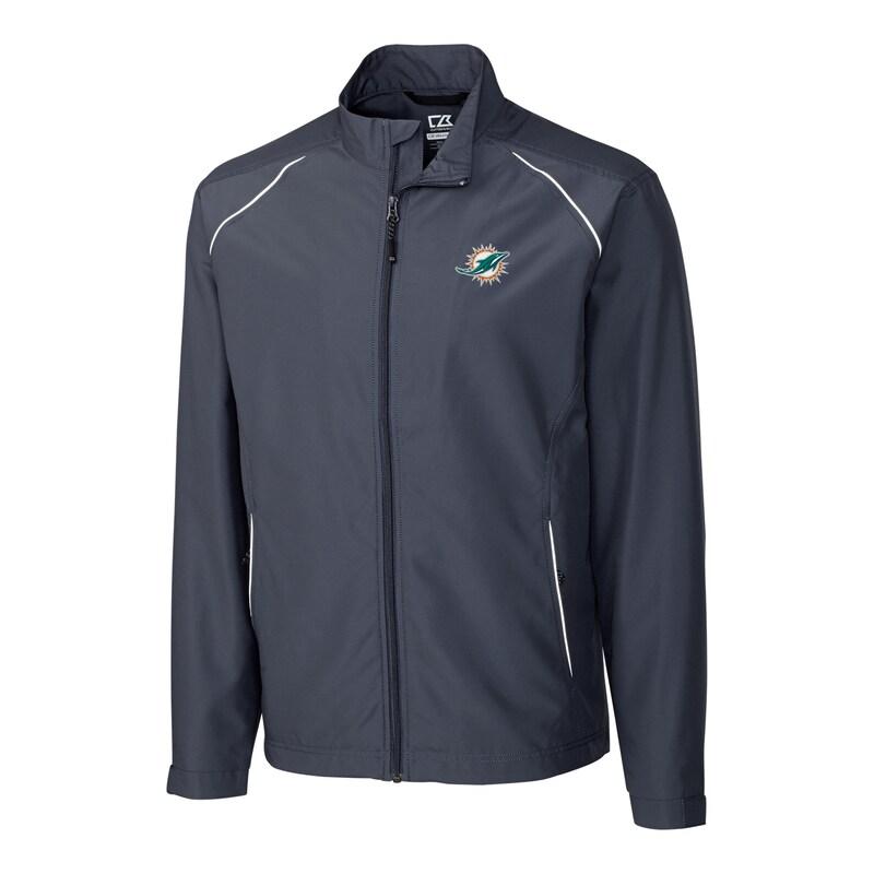 Miami Dolphins Cutter & Buck Big & Tall WeatherTec Beacon Full Zip Jacket - Charcoal
