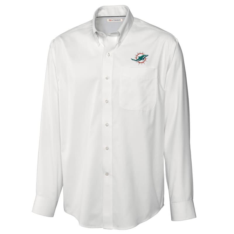Miami Dolphins Cutter & Buck Big & Tall Epic Easy Care Woven Long Sleeve Shirt - White