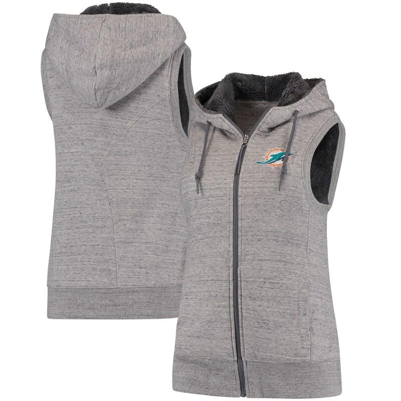 Miami Dolphins Antigua Women's Blitz Full-Zip Hooded Vest - Gray/Silver