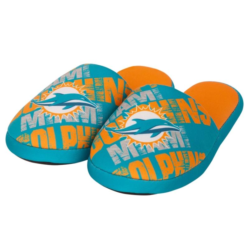 Miami Dolphins Digital Print Slippers - Aqua