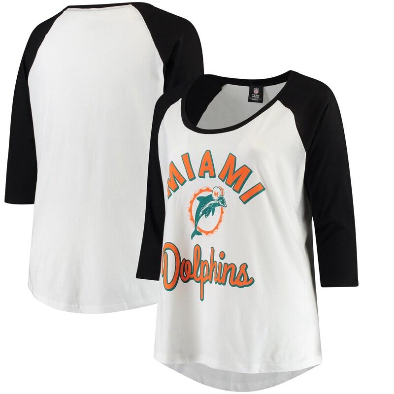 Miami Dolphins 5th & Ocean by New Era Women's Plus Size 3/4-Sleeve Raglan T-Shirt - White/Black
