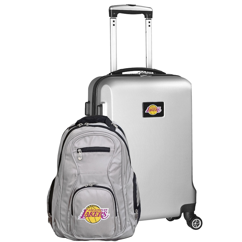 Los Angeles Lakers Deluxe 2-Piece Backpack and Carry-On Set - Silver