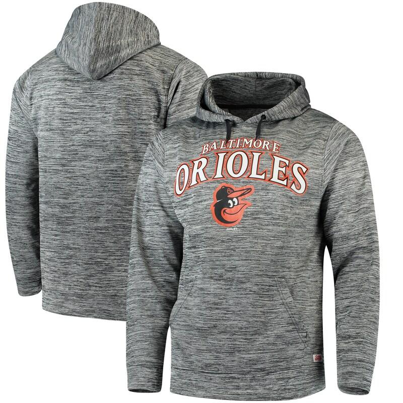 Baltimore Orioles Stitches Digital Fleece Pullover Hoodie - Heathered Black