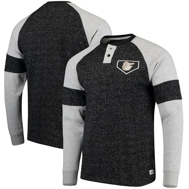 Baltimore Orioles Stitches Twisted Yarn Henley Long Sleeve T-Shirt - Black