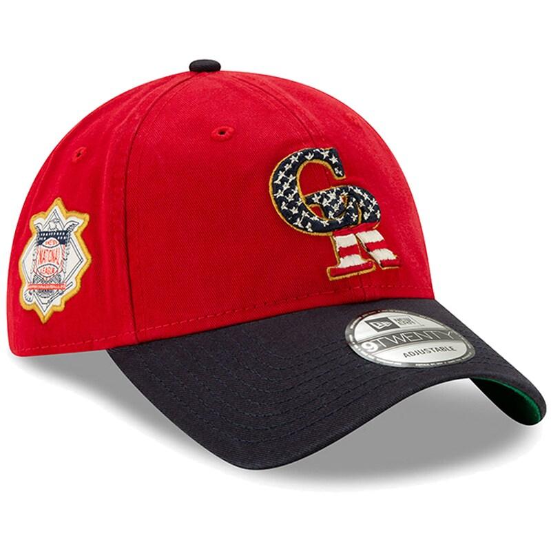 Colorado Rockies New Era Stars & Stripes 4th of July 9TWENTY Adjustable Hat - Red/Navy