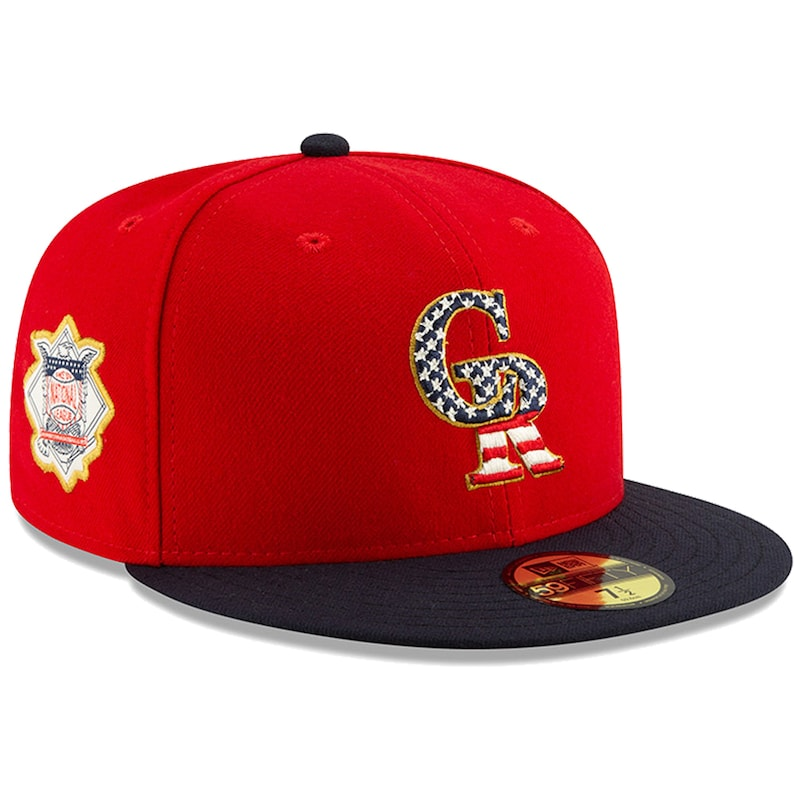 Colorado Rockies New Era Stars & Stripes 4th of July On-Field 59FIFTY Fitted Hat - Red/Navy