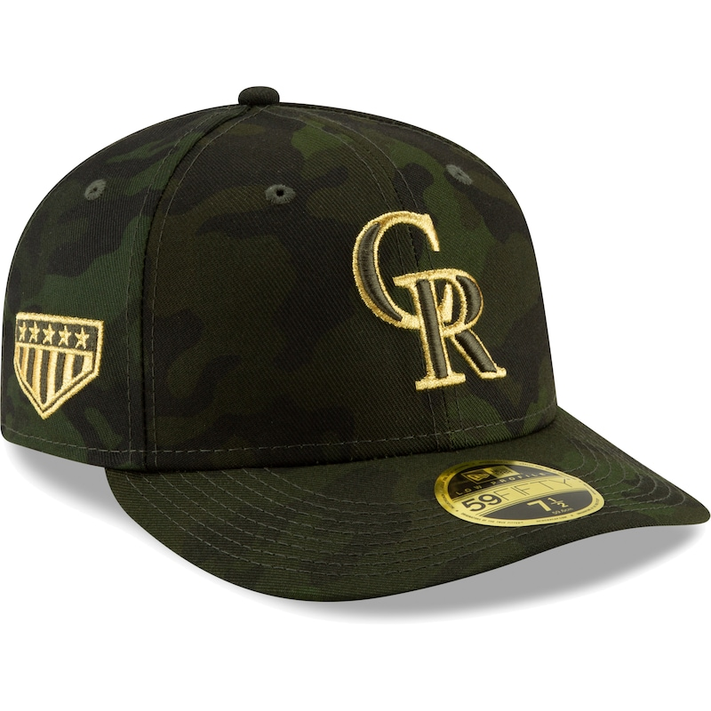 Colorado Rockies New Era MLB Armed Forces Day On-Field Low Profile 59FIFTY Fitted Hat - Camo