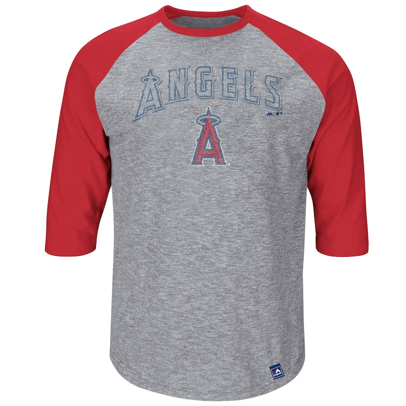 Los Angeles Angels Majestic Fast Win Three-Quarter Raglan Sleeve T-Shirt - Gray