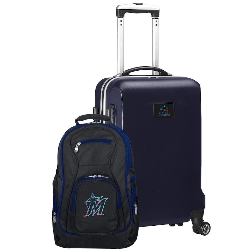 Miami Marlins Deluxe 2-Piece Backpack and Carry-On Set - Navy