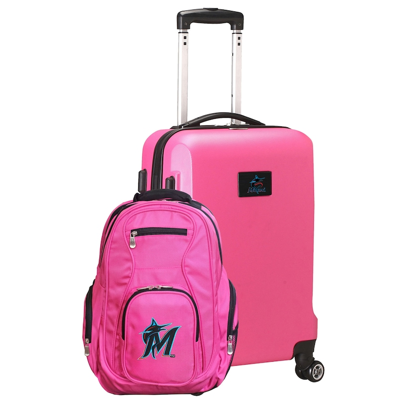 Miami Marlins Deluxe 2-Piece Backpack and Carry-On Set - Pink