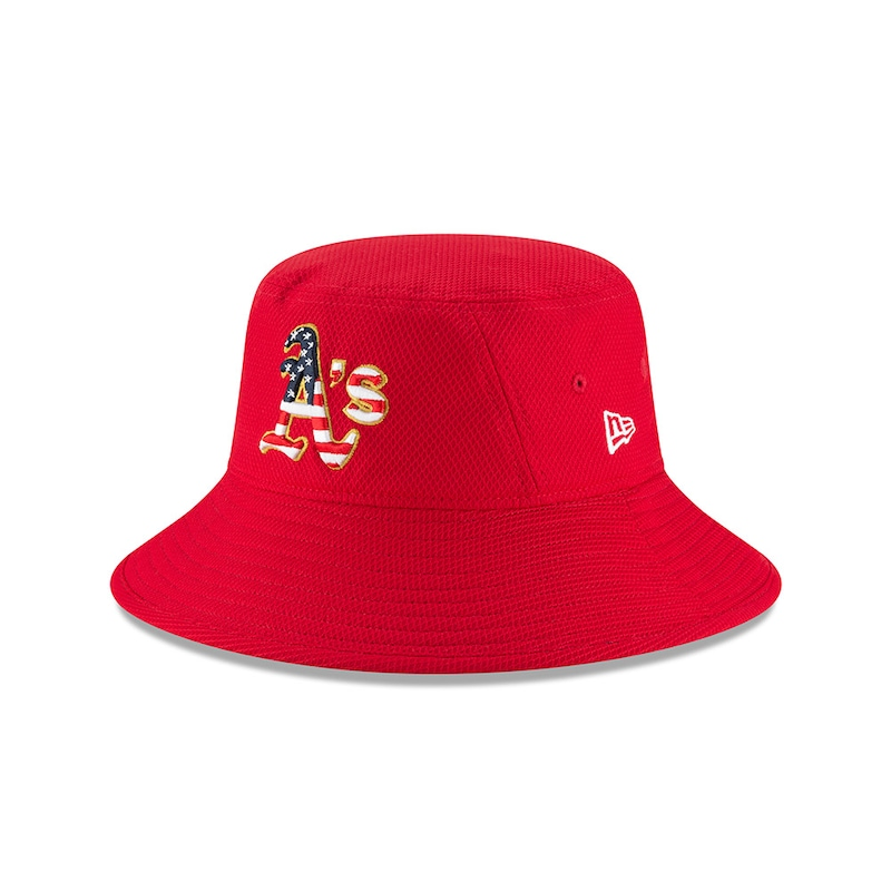 Oakland Athletics New Era 2018 Stars & Stripes 4th of July Bucket Hat - Red