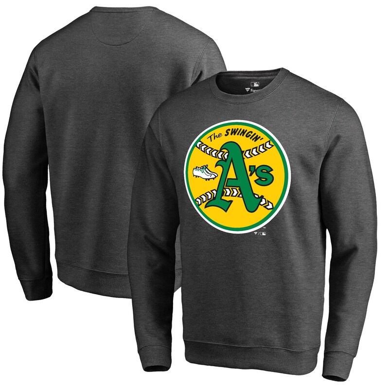 Oakland Athletics Fanatics Branded Cooperstown Collection Huntington Sweatshirt - Heathered Gray