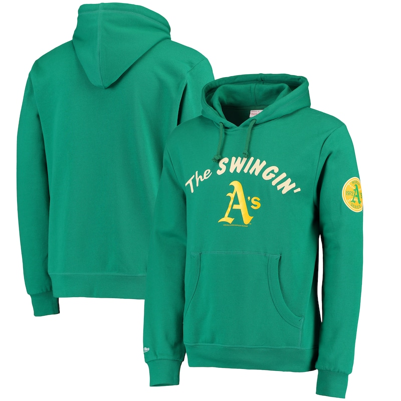 Oakland Athletics Mitchell & Ness Extra Out Pullover Hoodie - Green