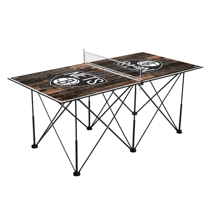 Brooklyn Nets 6' Weathered Design Pop Up Table Tennis Set