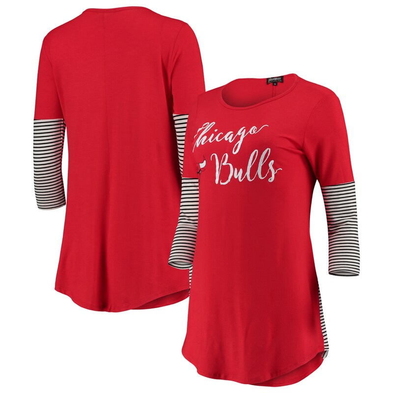 Chicago Bulls Women's Striking in Stripes 3/4 Sleeve Tunic T-Shirt - Red
