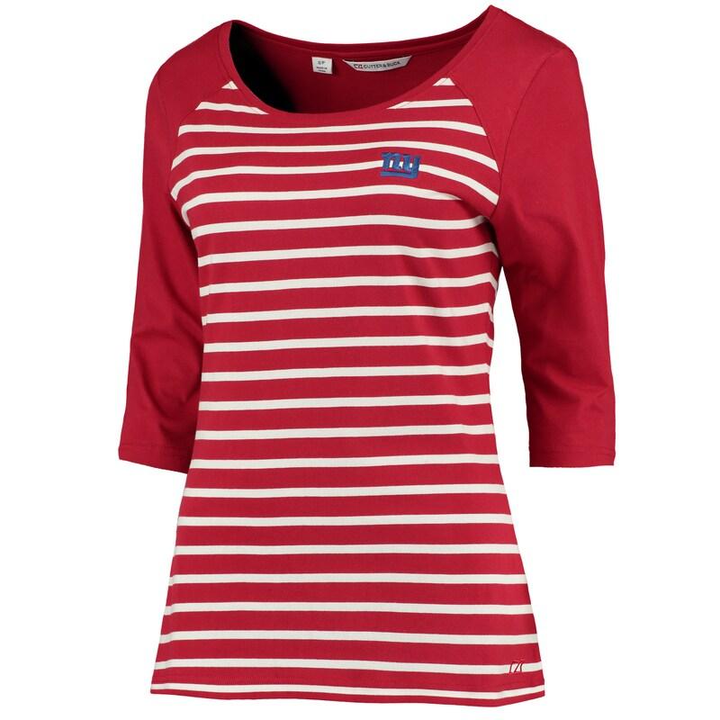 New York Giants Cutter & Buck Women's Revel Stripe Three-Quarter Sleeve T-Shirt - Red
