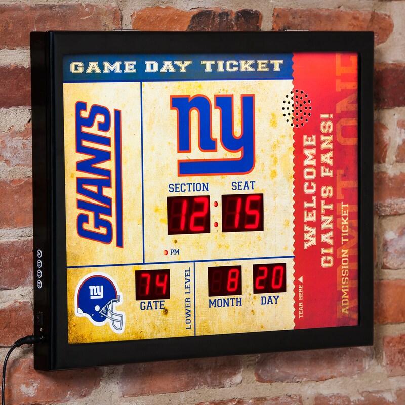 "New York Giants 23"" x 18"" Bluetooth Scoreboard Wall Clock"