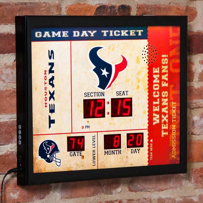"Houston Texans 23"" x 18"" Bluetooth Scoreboard Wall Clock"