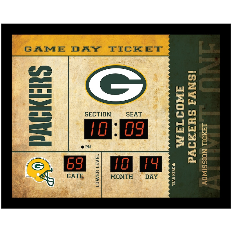 "Green Bay Packers 23"" x 18"" Bluetooth Scoreboard Wall Clock"